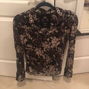Cino Black Floral Blouse